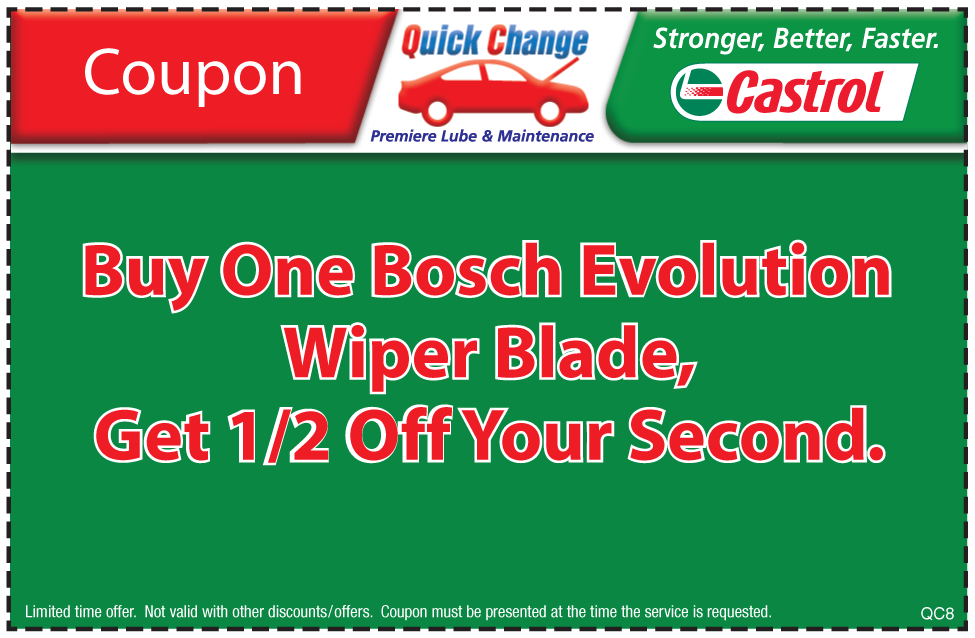 Buy 1 Get 1 1/2 Off Bosh Wiper Blades