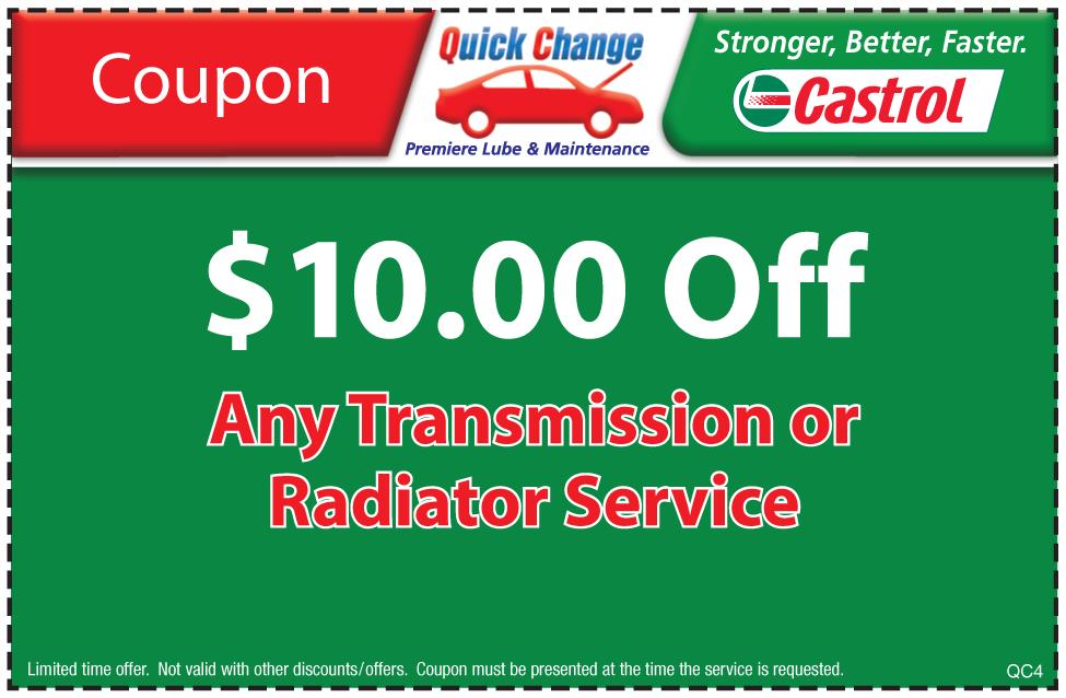 $10 Off Transmission or Coolant Service