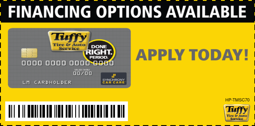 Tuffy Financing Options Available - Tuffy Credit Card