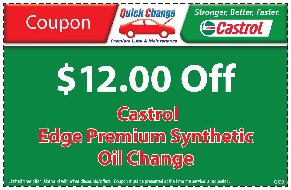 $12 Off Castrol Edge Premium Syn, Oil Change